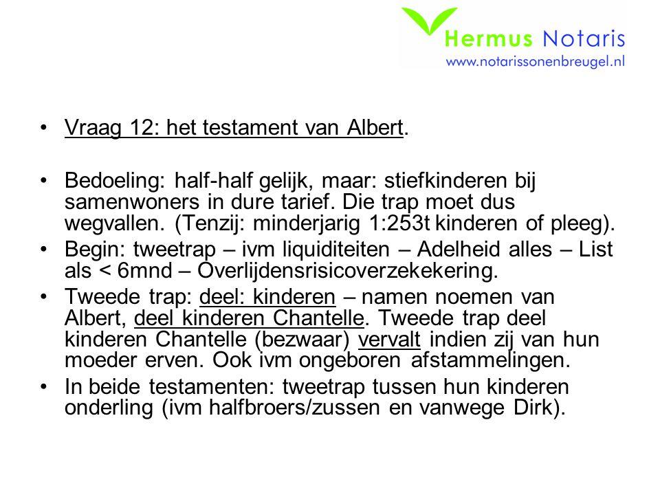 Vraag 12: het testament van Albert.