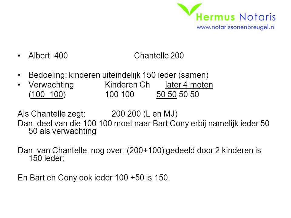 Albert 400 Chantelle 200 Bedoeling: kinderen uiteindelijk 150 ieder (samen) Verwachting Kinderen Ch later 4 moten.