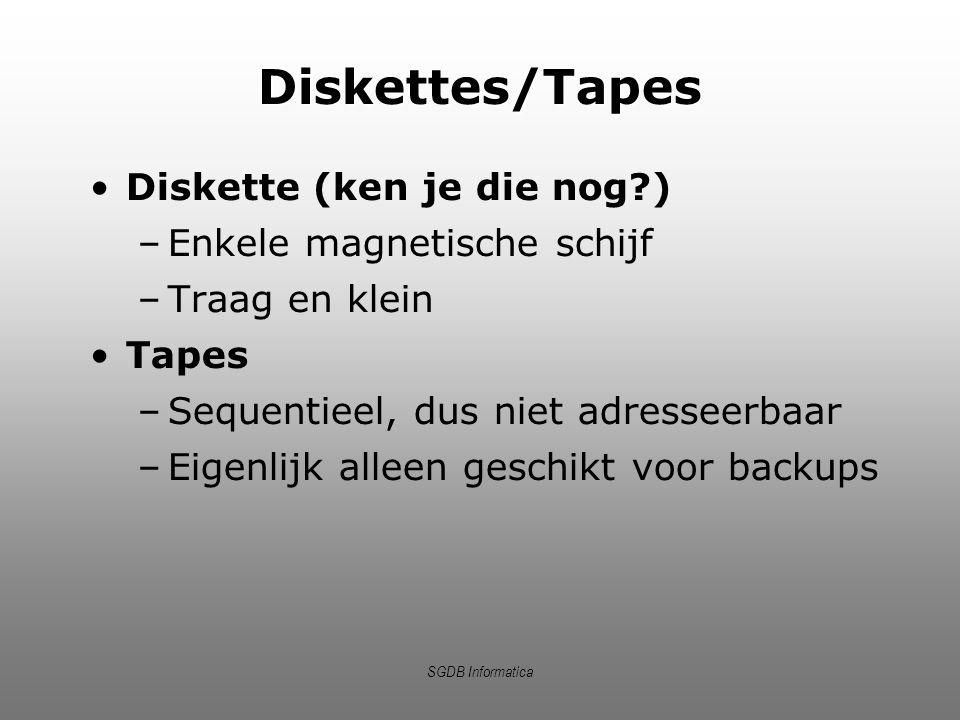 Diskettes/Tapes Diskette (ken je die nog ) Enkele magnetische schijf