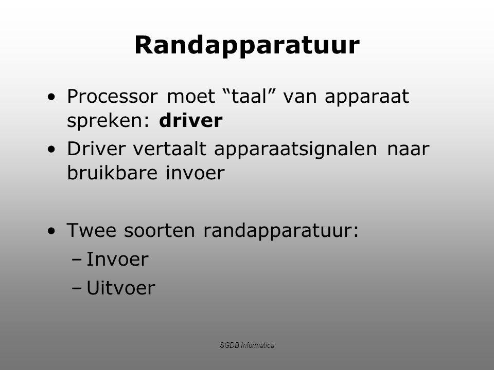 Randapparatuur Processor moet taal van apparaat spreken: driver