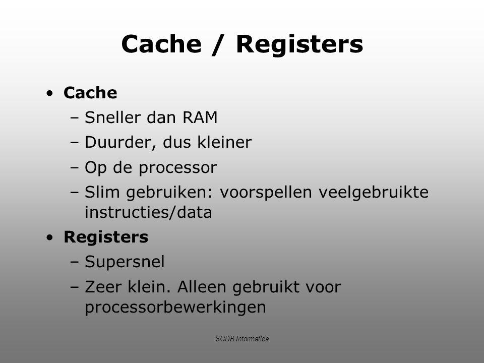Cache / Registers Cache Sneller dan RAM Duurder, dus kleiner