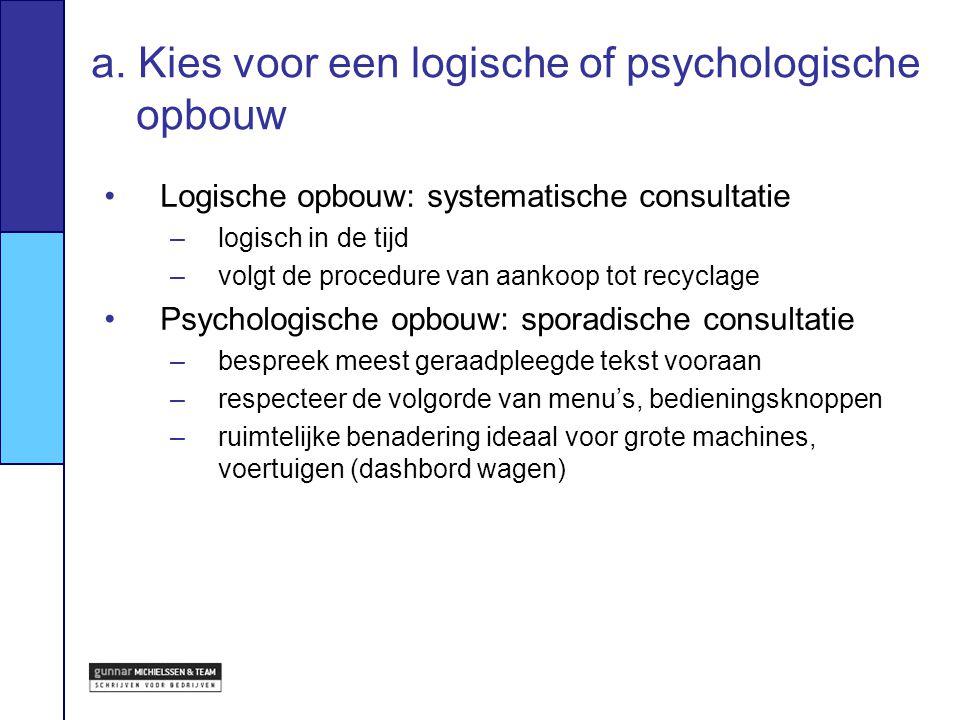 a. Kies voor een logische of psychologische opbouw