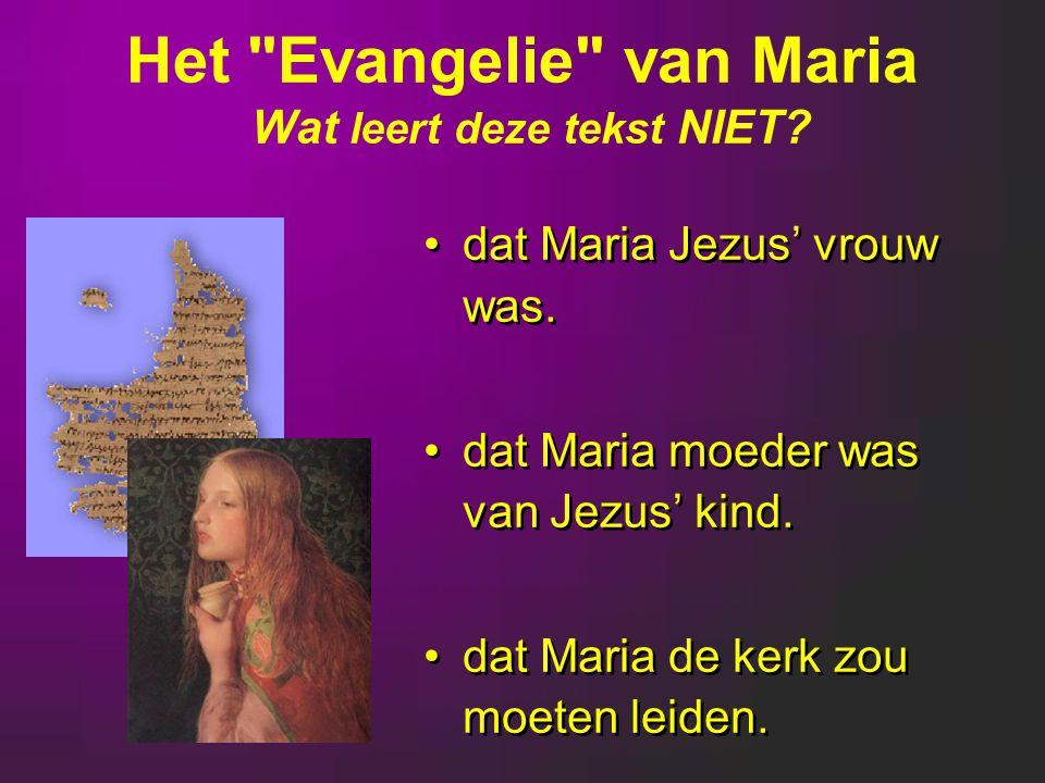 Het Evangelie van Maria Wat leert deze tekst NIET