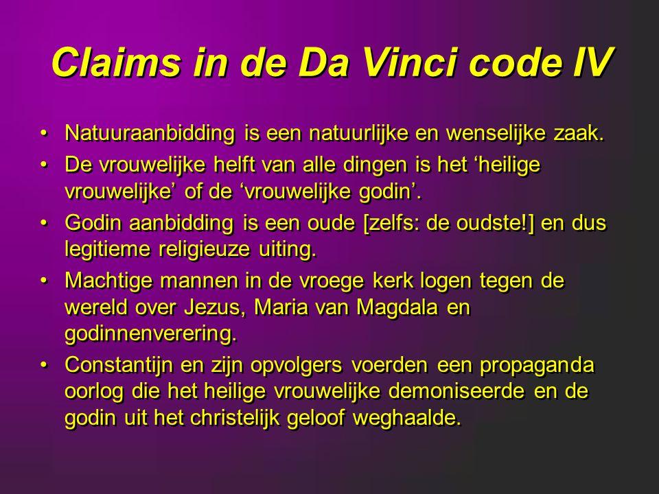 Claims in de Da Vinci code IV