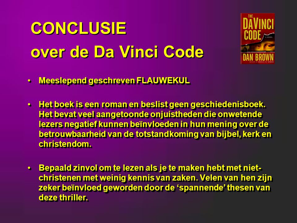 CONCLUSIE over de Da Vinci Code