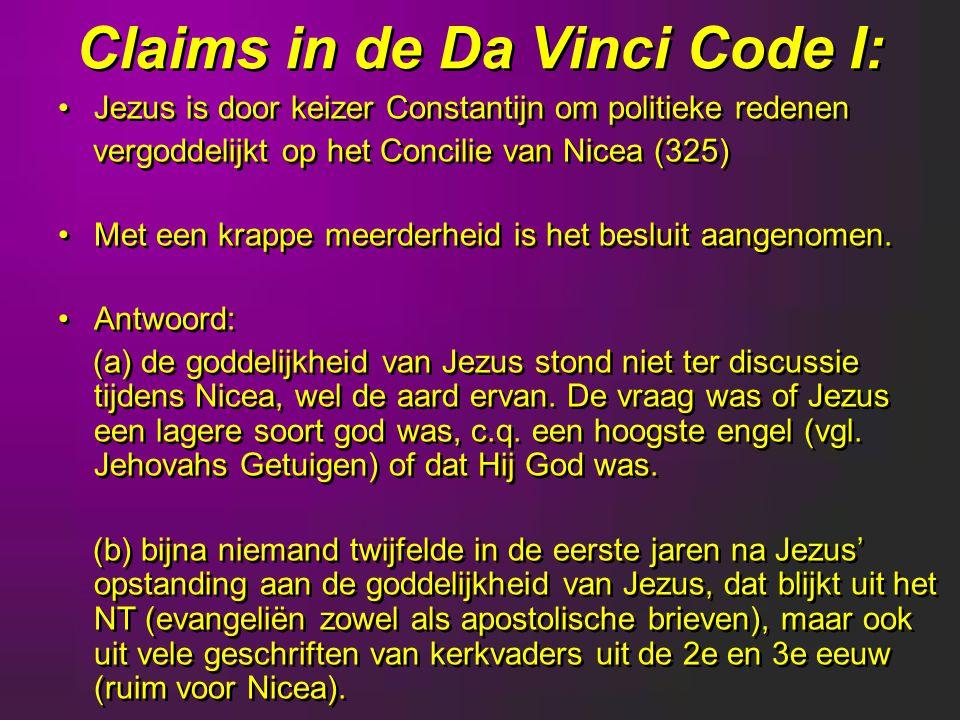Claims in de Da Vinci Code I: