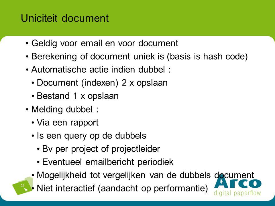 Uniciteit document Geldig voor email en voor document