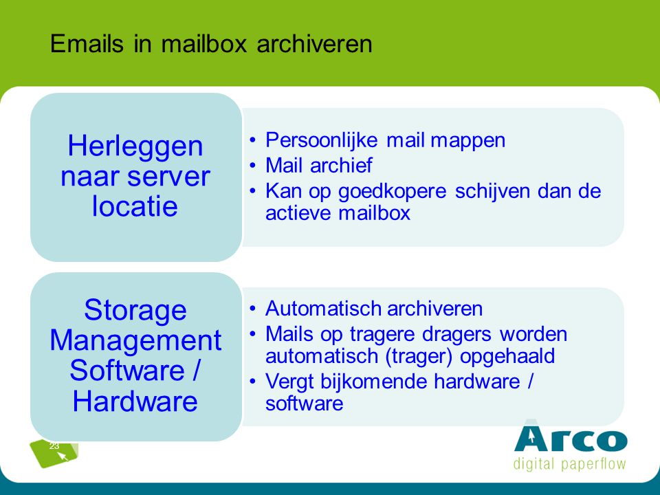 Emails in mailbox archiveren