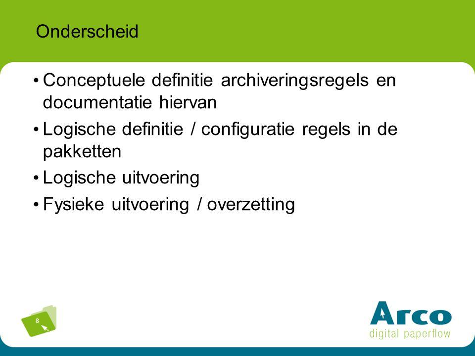 Onderscheid Conceptuele definitie archiveringsregels en documentatie hiervan. Logische definitie / configuratie regels in de pakketten.