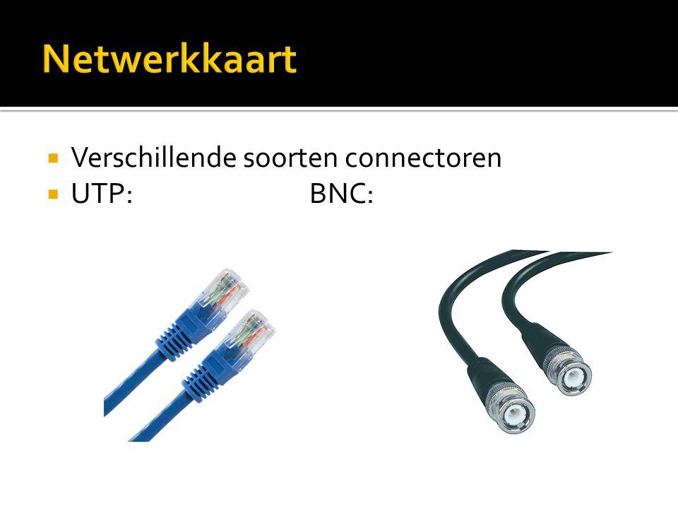 Netwerkkaart Verschillende soorten connectoren UTP: BNC: