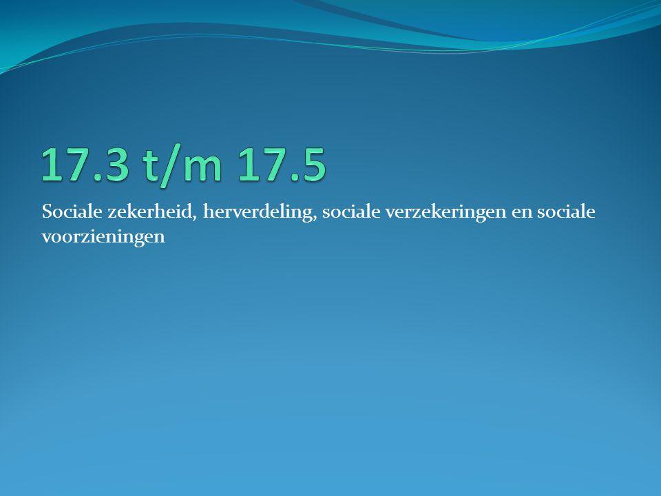 17.3 t/m 17.5 Sociale zekerheid, herverdeling, sociale verzekeringen en sociale voorzieningen