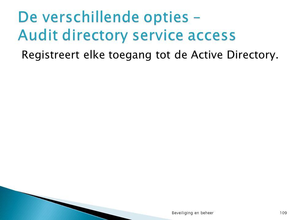 De verschillende opties – Audit directory service access