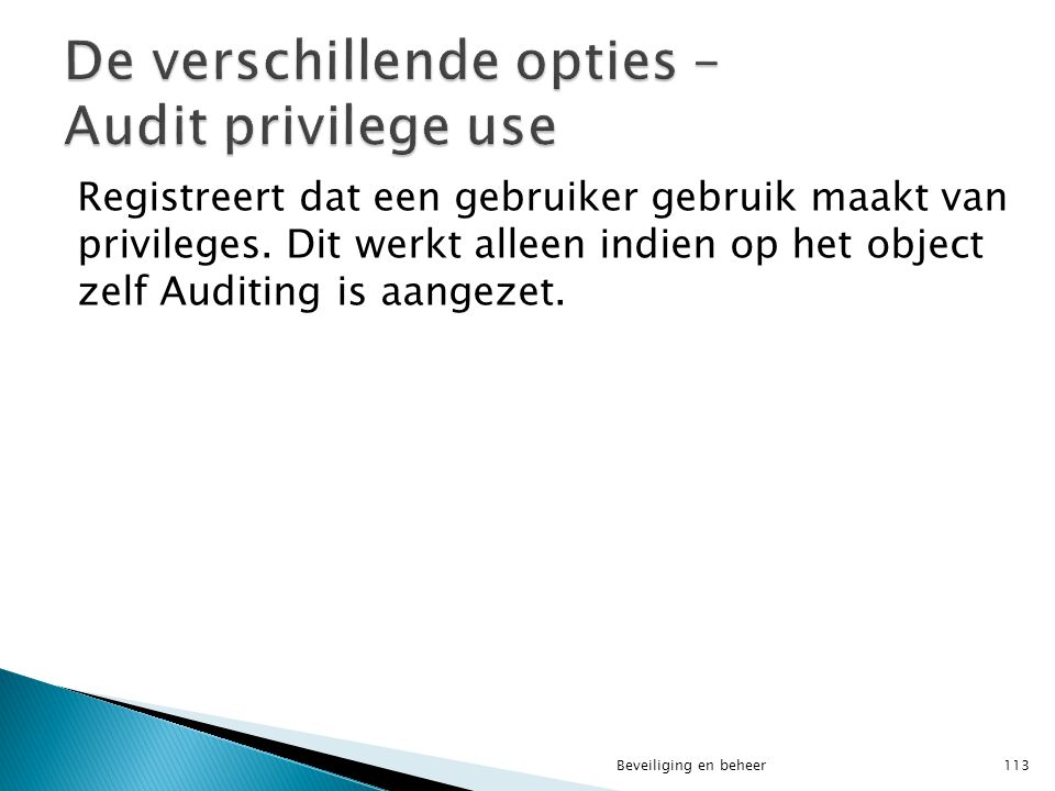 De verschillende opties – Audit privilege use