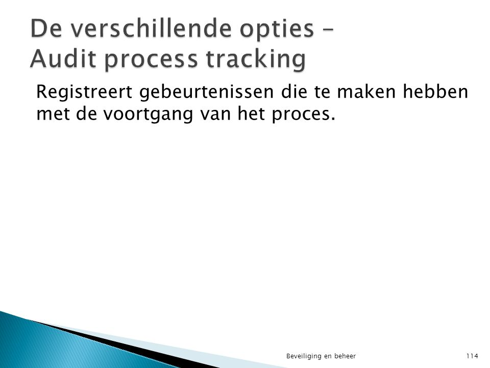 De verschillende opties – Audit process tracking