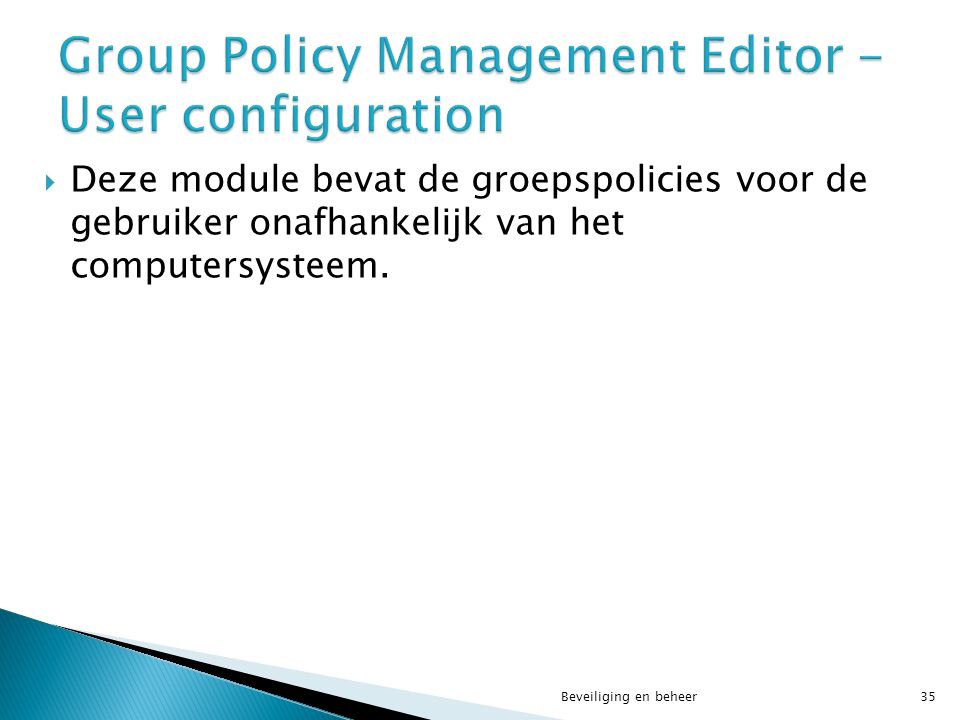 Group Policy Management Editor - User configuration