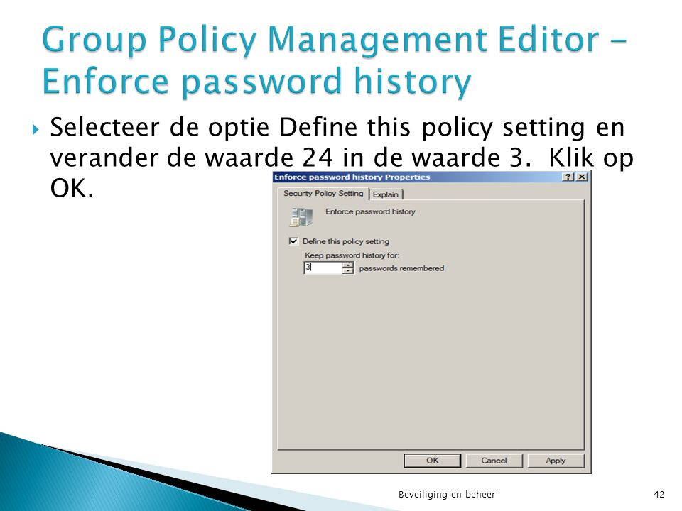 Group Policy Management Editor - Enforce password history