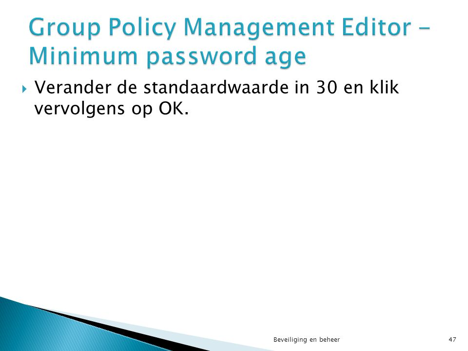 Group Policy Management Editor - Minimum password age