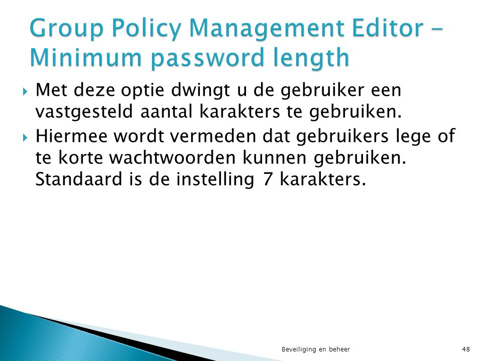 Group Policy Management Editor - Minimum password length