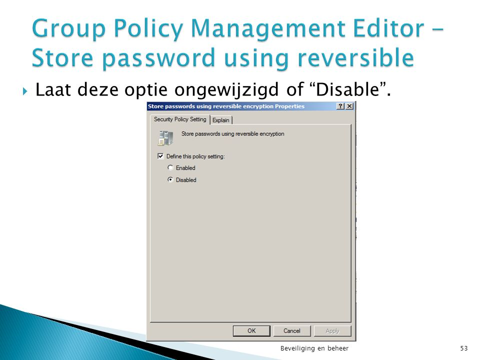 Group Policy Management Editor - Store password using reversible