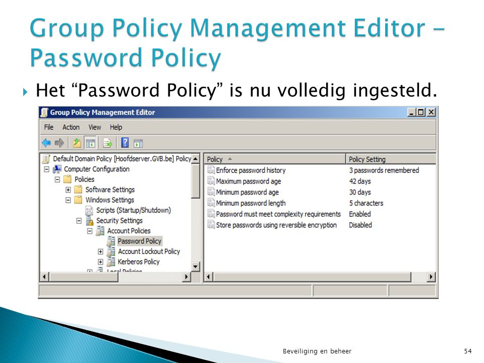 Group Policy Management Editor - Password Policy