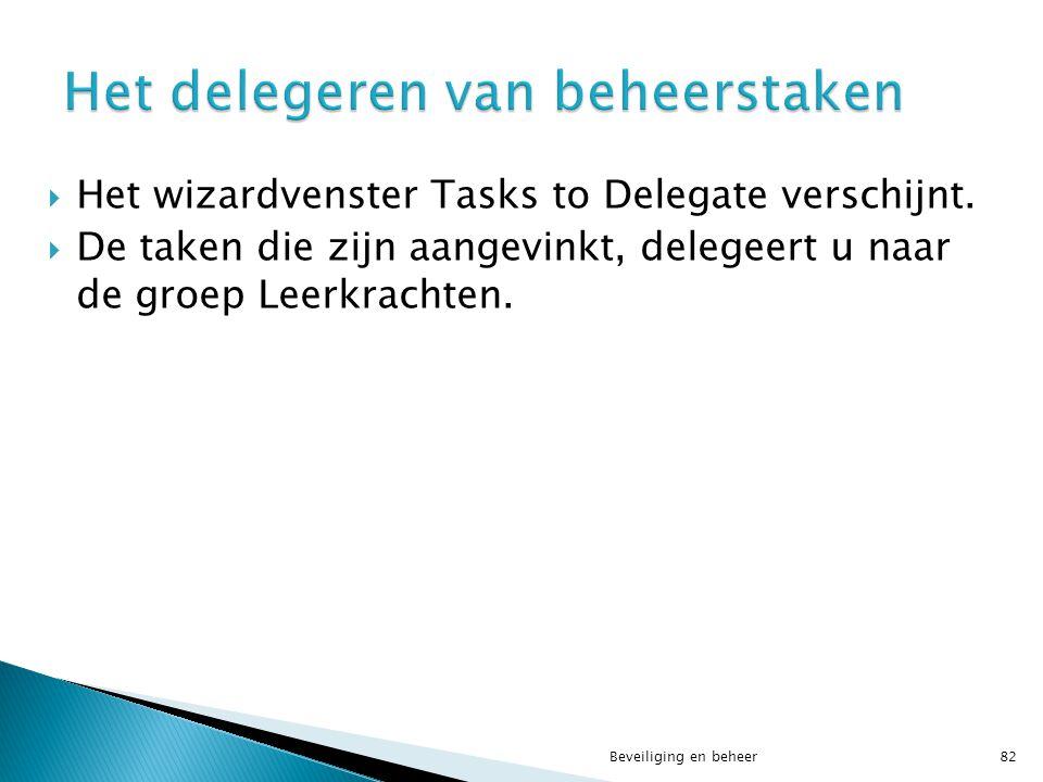 Het delegeren van beheerstaken