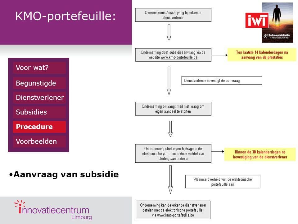 KMO-portefeuille: Aanvraag van subsidie Voor wat Begunstigde