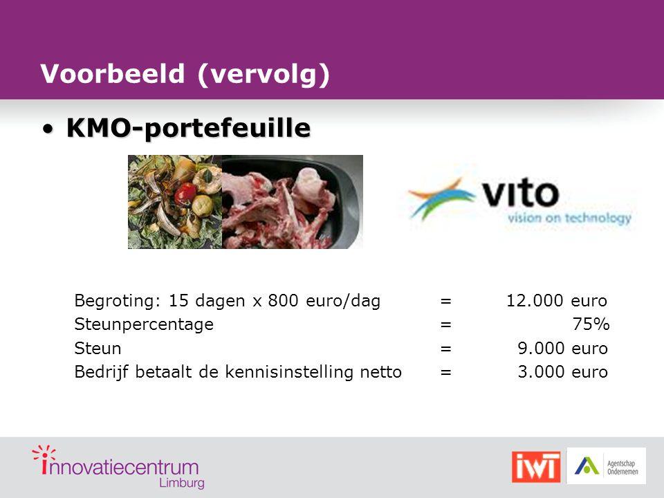 Voorbeeld (vervolg) KMO-portefeuille
