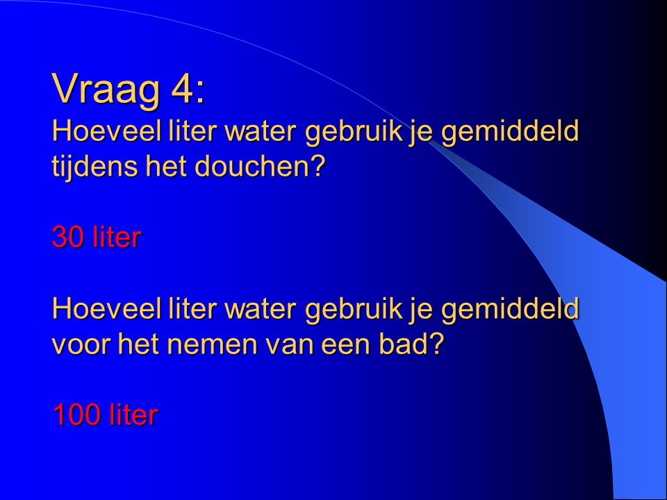 Vraag 4: Hoeveel liter water gebruik je gemiddeld tijdens het douchen