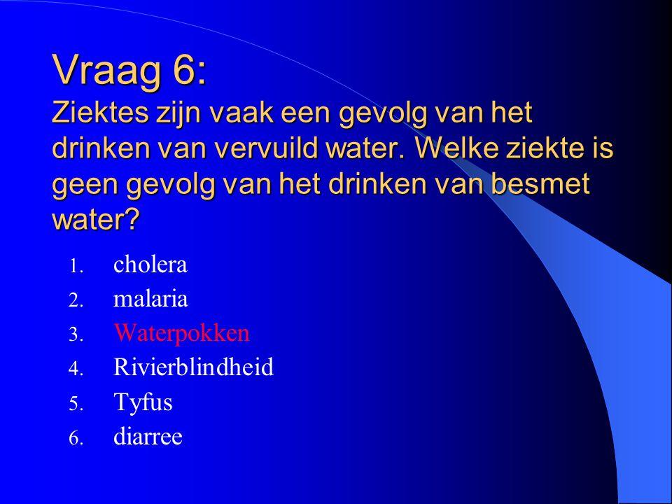 Vraag 6: Ziektes zijn vaak een gevolg van het drinken van vervuild water. Welke ziekte is geen gevolg van het drinken van besmet water