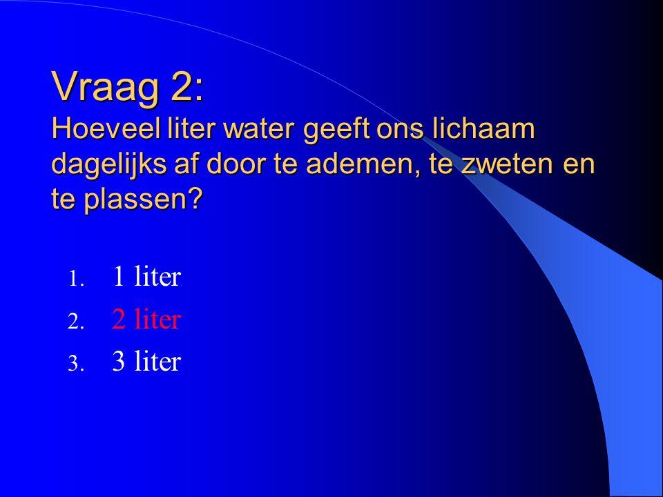 Vraag 2: Hoeveel liter water geeft ons lichaam dagelijks af door te ademen, te zweten en te plassen