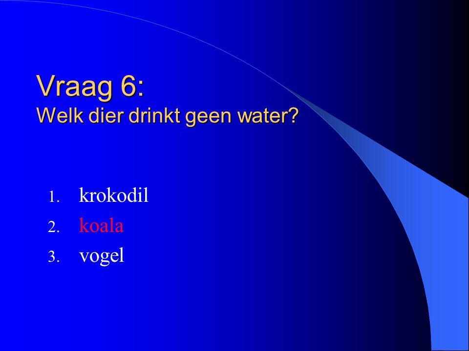 Vraag 6: Welk dier drinkt geen water