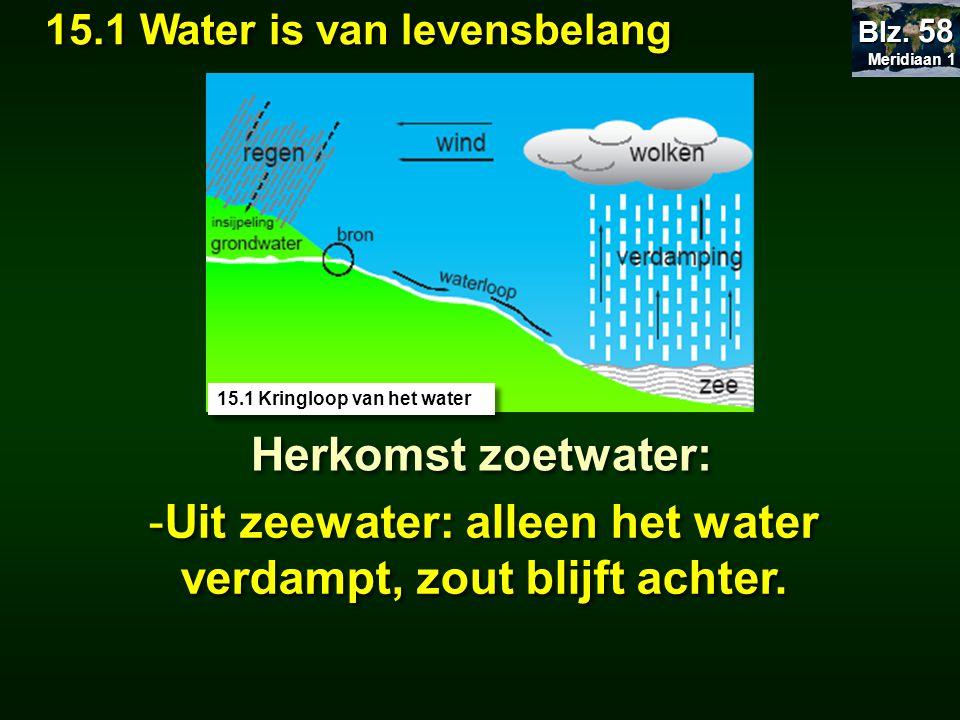 Uit zeewater: alleen het water verdampt, zout blijft achter.