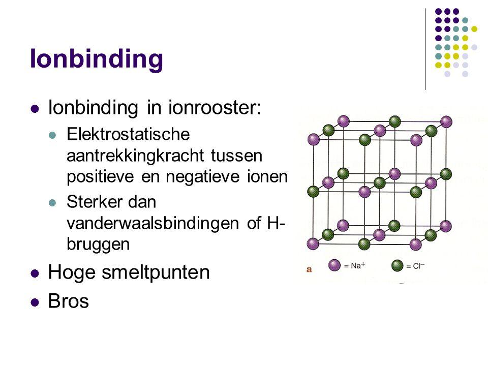 Ionbinding Ionbinding in ionrooster: Hoge smeltpunten Bros