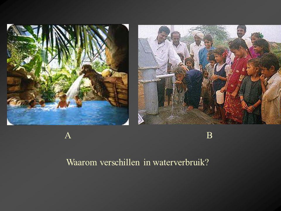 A B Waarom verschillen in waterverbruik