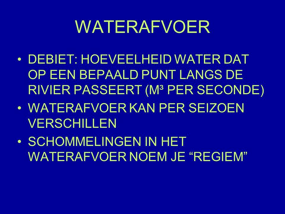 WATERAFVOER DEBIET: HOEVEELHEID WATER DAT OP EEN BEPAALD PUNT LANGS DE RIVIER PASSEERT (M³ PER SECONDE)