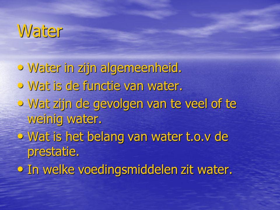 Water Water in zijn algemeenheid. Wat is de functie van water.