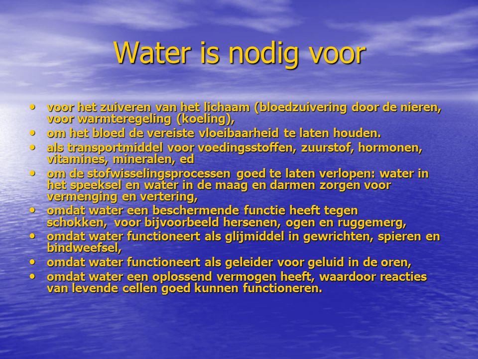 Water is nodig voor voor het zuiveren van het lichaam (bloedzuivering door de nieren, voor warmteregeling (koeling),