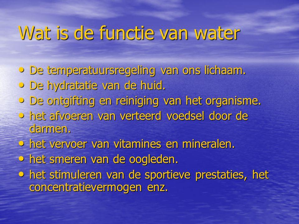 Wat is de functie van water