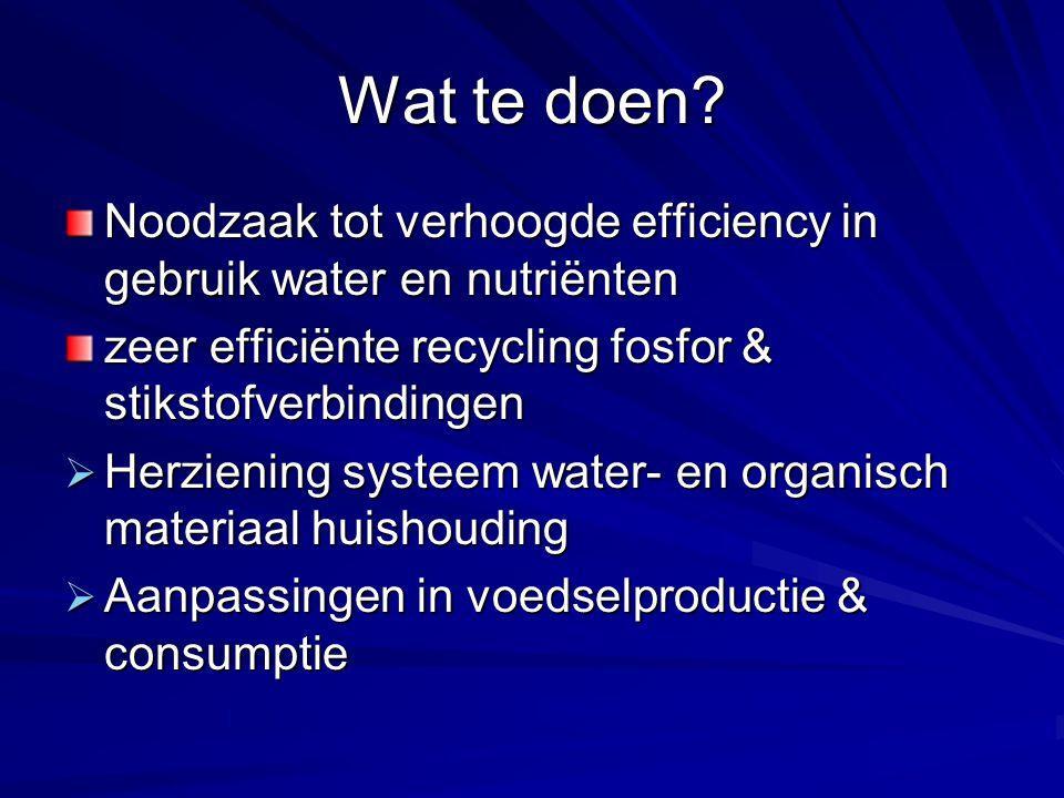 Wat te doen Noodzaak tot verhoogde efficiency in gebruik water en nutriënten. zeer efficiënte recycling fosfor & stikstofverbindingen.