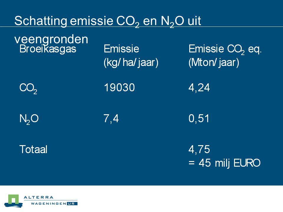 Schatting emissie CO2 en N2O uit veengronden