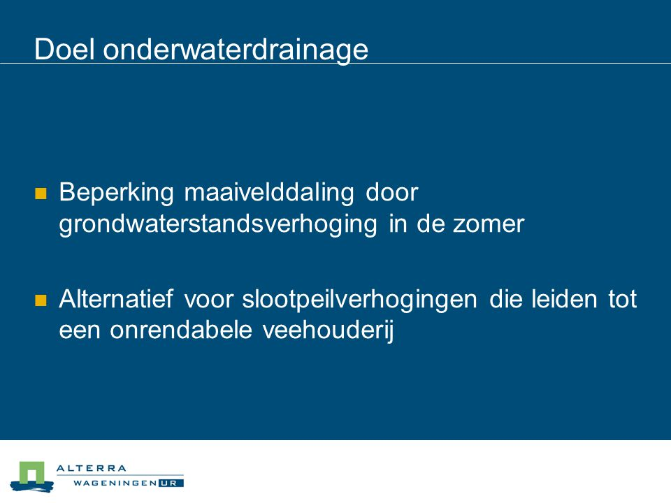 Doel onderwaterdrainage