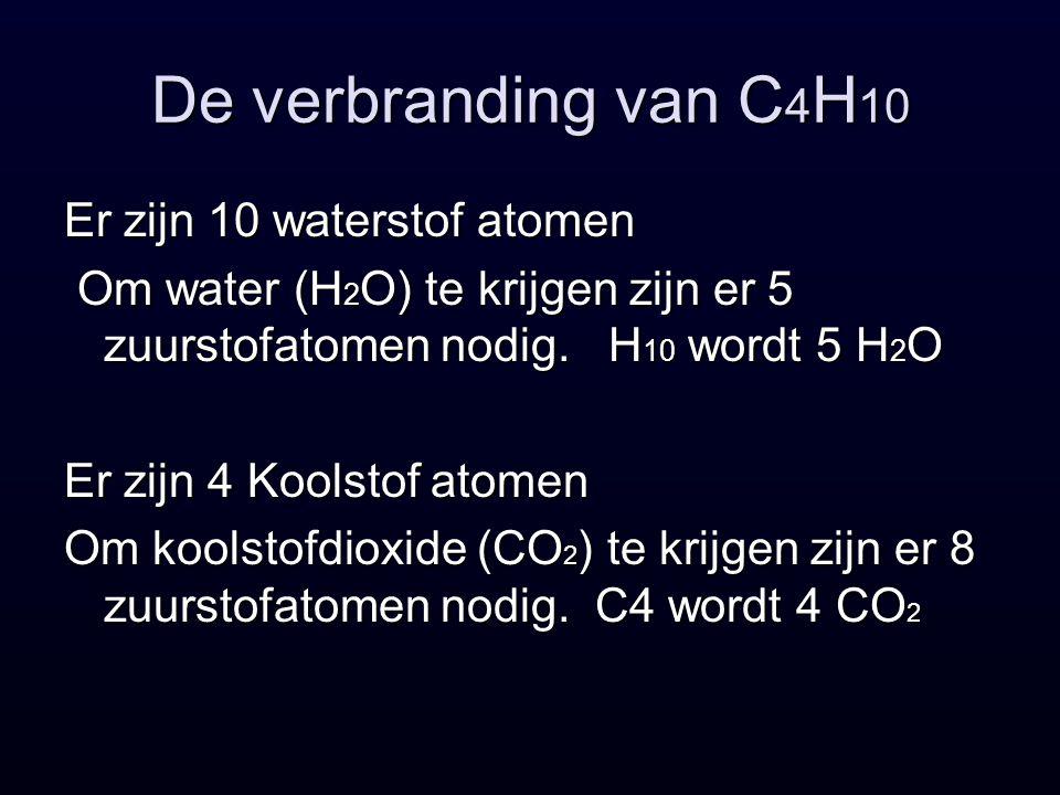 De verbranding van C4H10 Er zijn 10 waterstof atomen