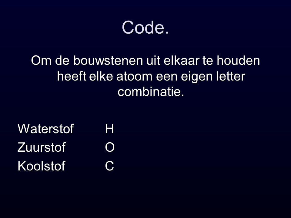 Code. Om de bouwstenen uit elkaar te houden heeft elke atoom een eigen letter combinatie. Waterstof H.