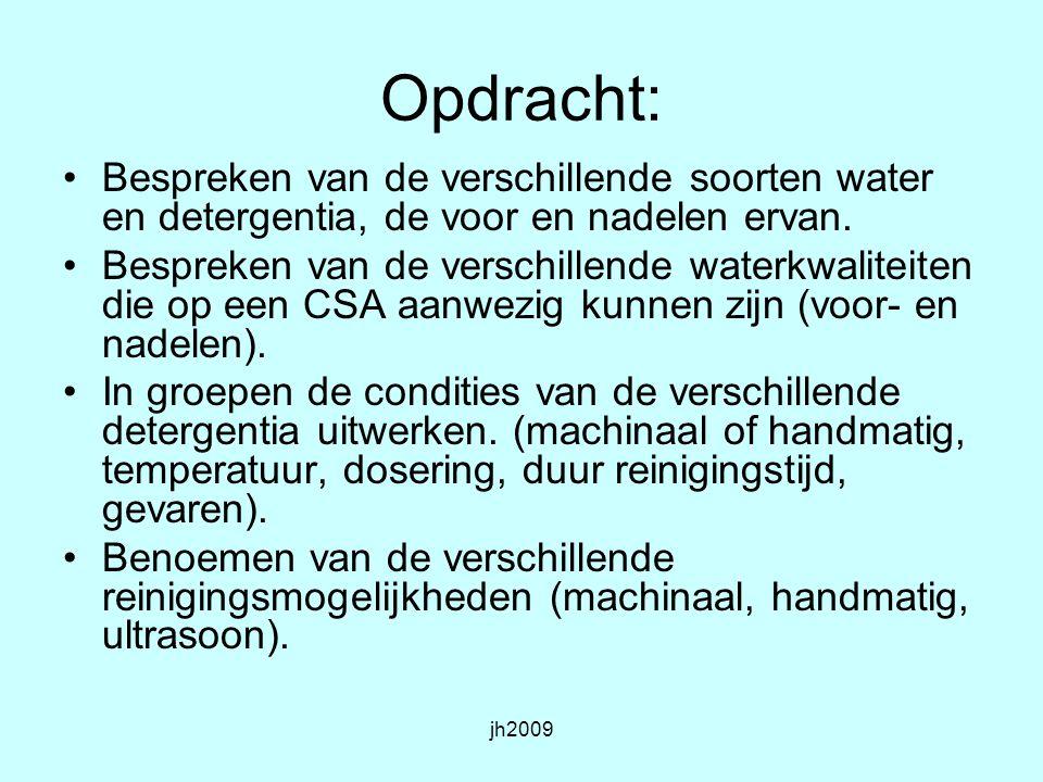 Opdracht: Bespreken van de verschillende soorten water en detergentia, de voor en nadelen ervan.