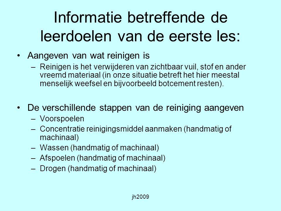 Informatie betreffende de leerdoelen van de eerste les: