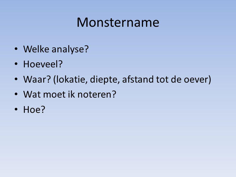 Monstername Welke analyse Hoeveel