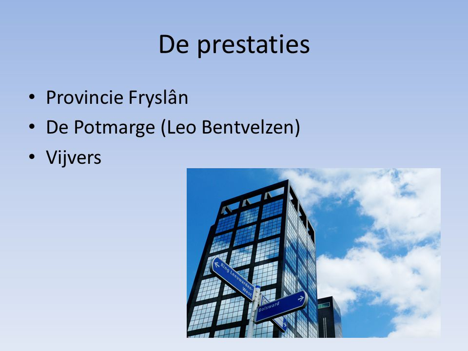 De prestaties Provincie Fryslân De Potmarge (Leo Bentvelzen) Vijvers
