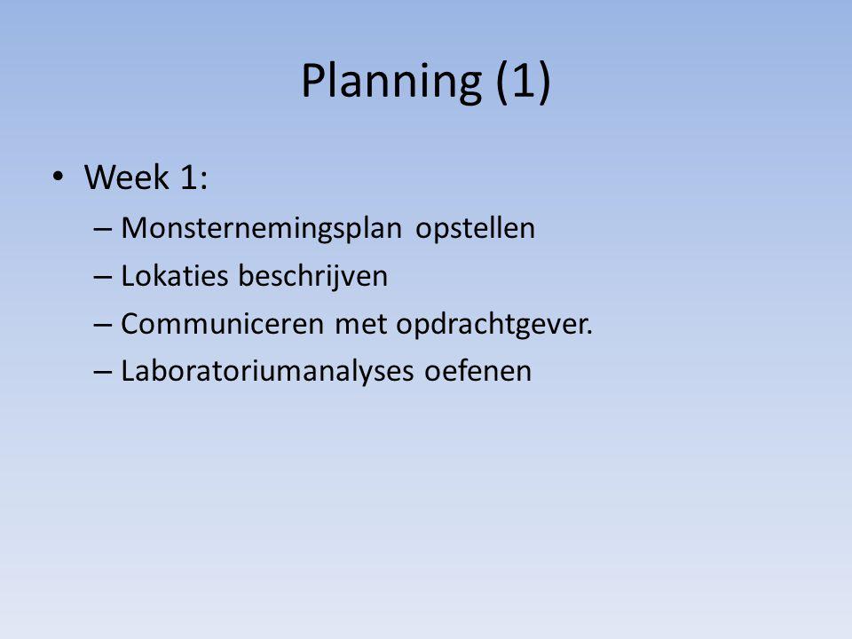 Planning (1) Week 1: Monsternemingsplan opstellen Lokaties beschrijven