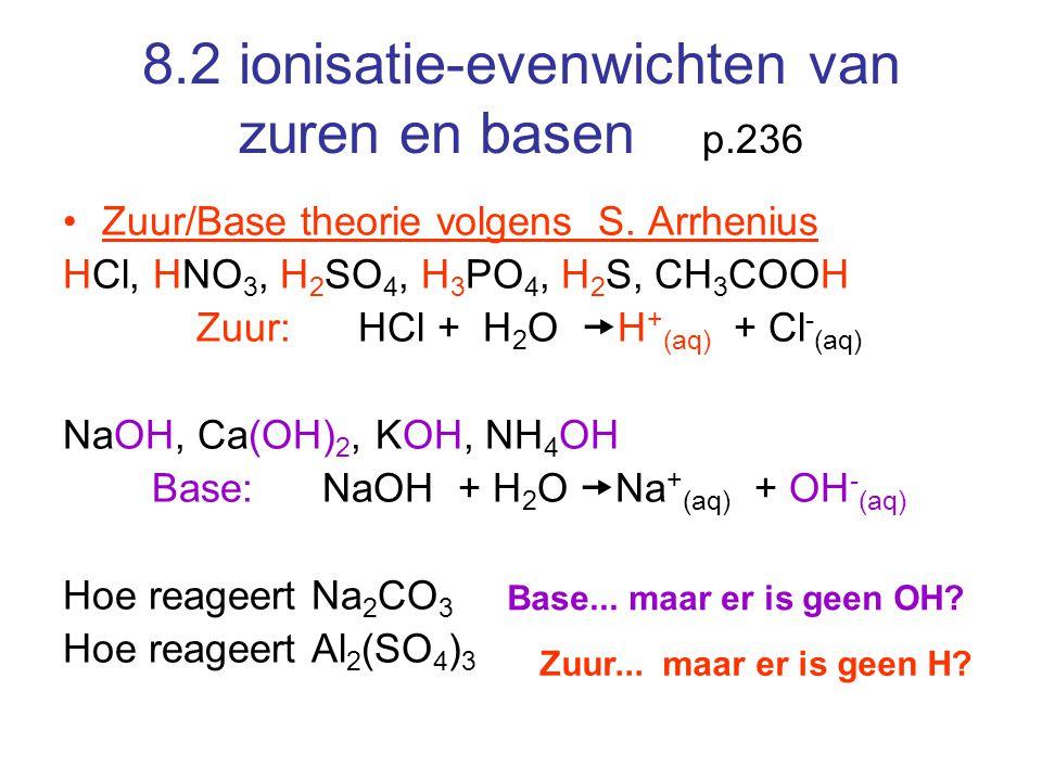 8.2 ionisatie-evenwichten van zuren en basen p.236