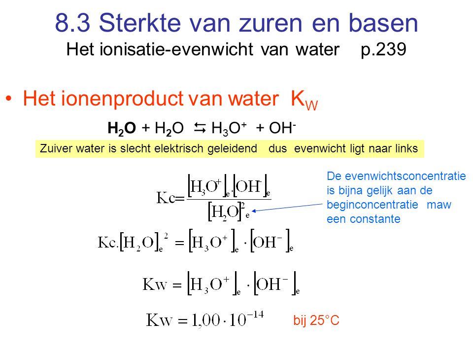 8.3 Sterkte van zuren en basen Het ionisatie-evenwicht van water p.239